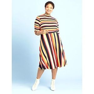 2/$25 ELOQUII Elements Striped Fit and Flare Dress